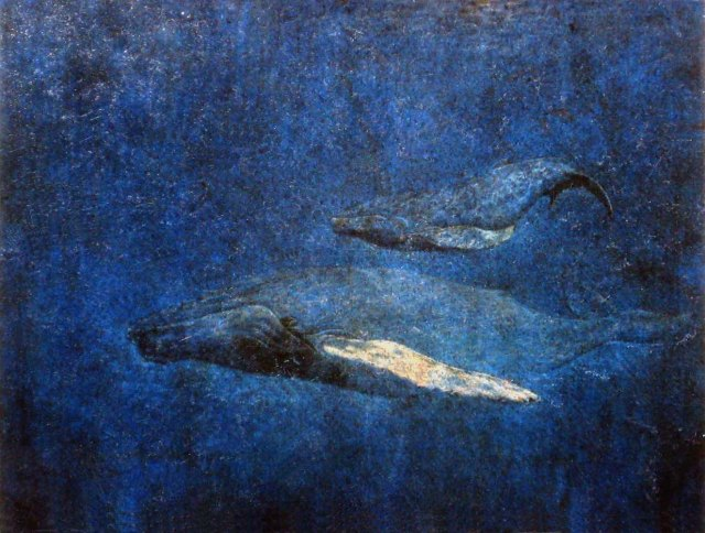 humpback whales, mixed media
